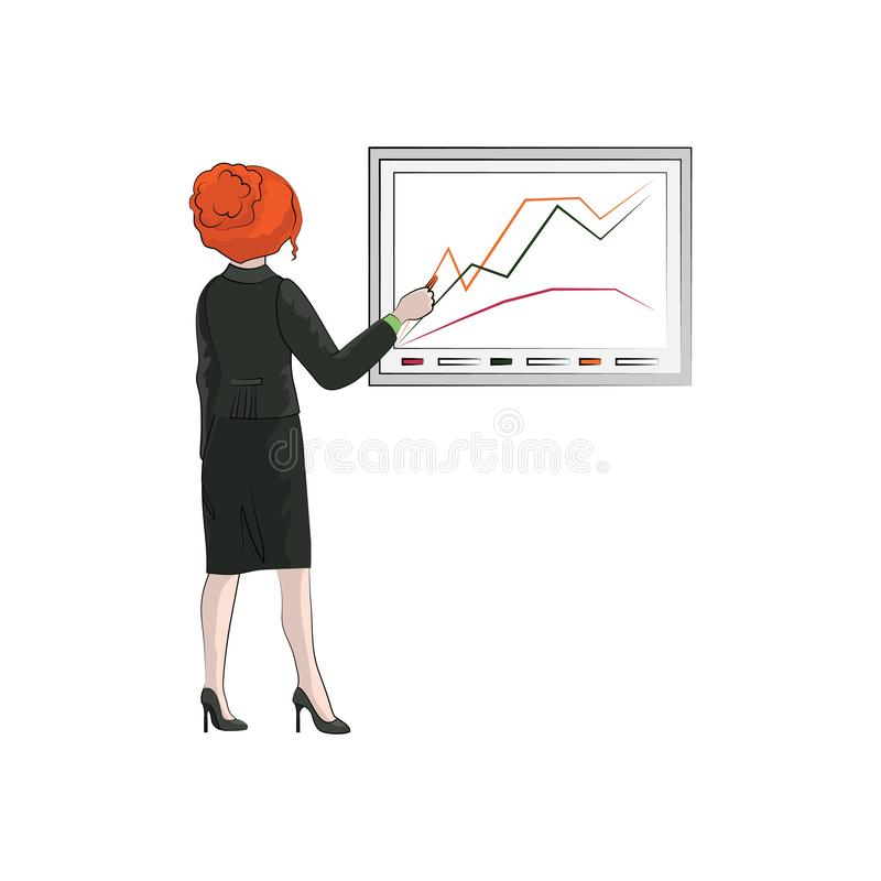 Businesswoman girl, woman draws a chart. Vector color vector illustration