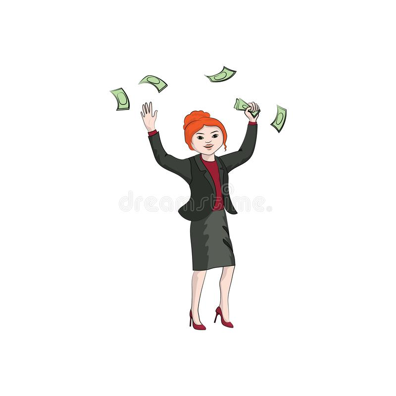 Businesswoman girl, woman throws money. Vector color royalty free illustration