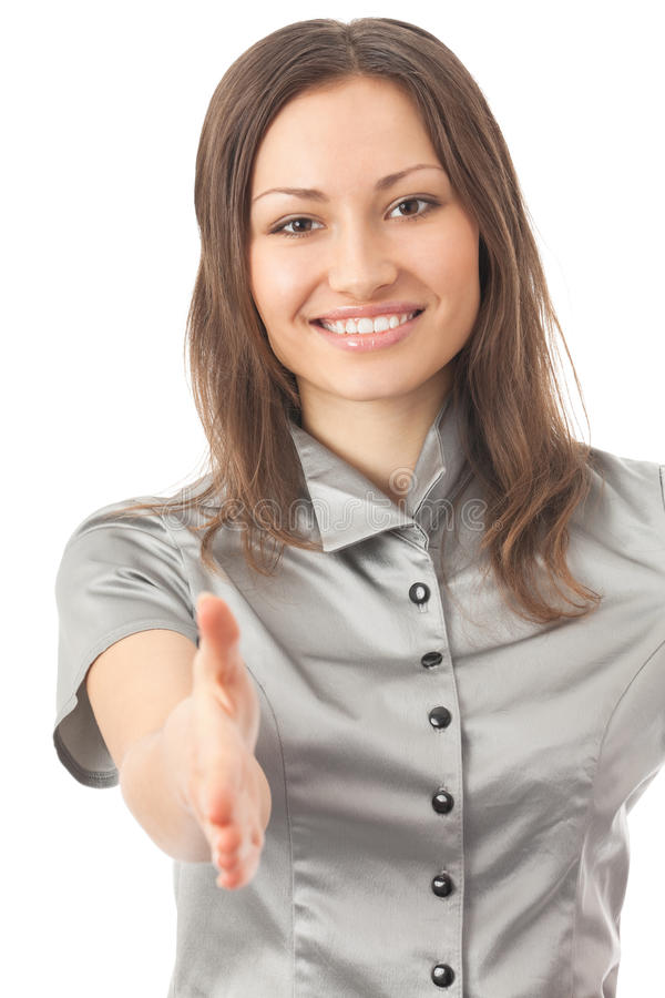 Businesswoman giving hand royalty free stock image