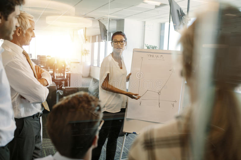 Businesswoman giving presentation to coworker over flip board royalty free stock images