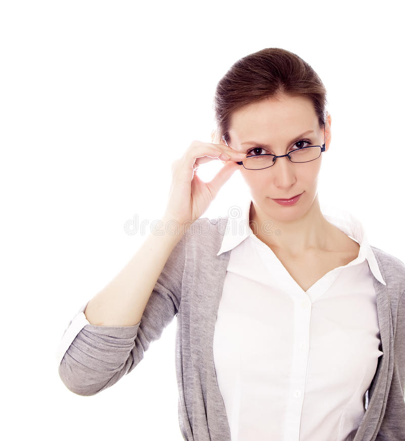 Download Businesswoman Glasses Isolated White Copy Space Stock Photo - Image: 25609852