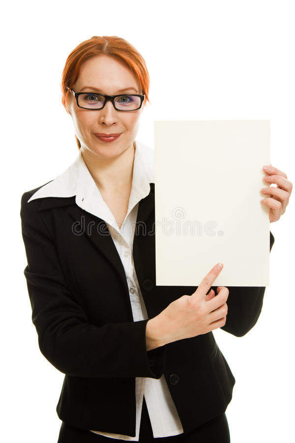 Download Businesswoman In Glasses With The Red Hair Stock Image - Image of haired, placard: 25267779