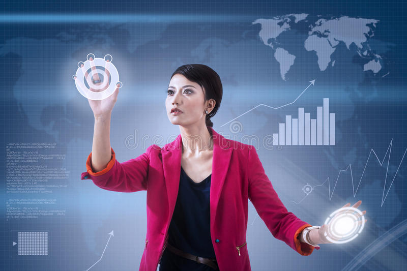 Businesswoman and global touchscreen stock illustration