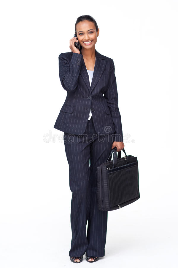 businesswoman going phone to work arkivbilder
