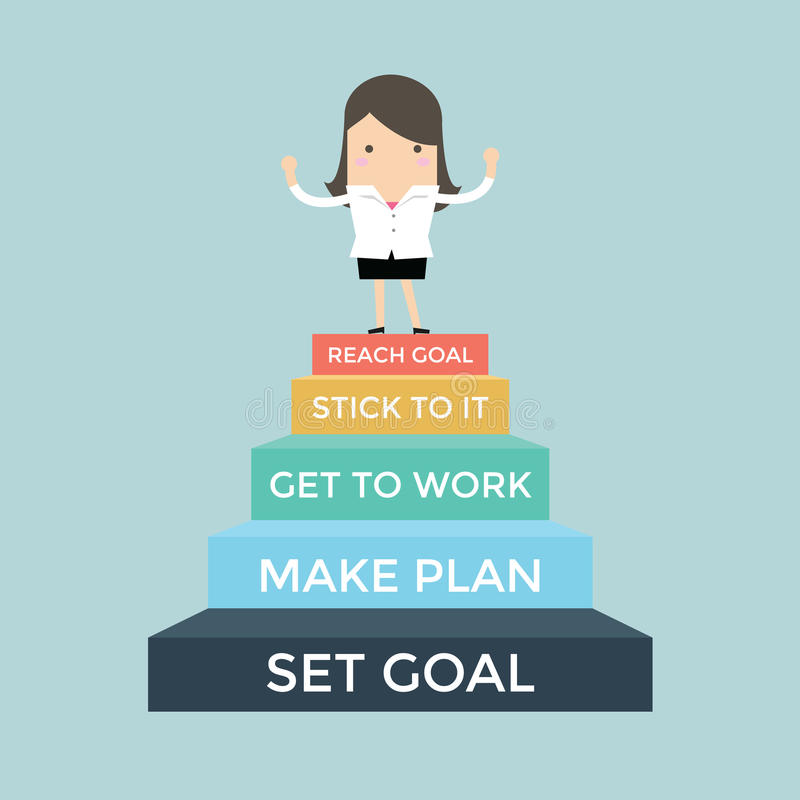 Businesswoman going up to success, Set and reach goal concept royalty free illustration