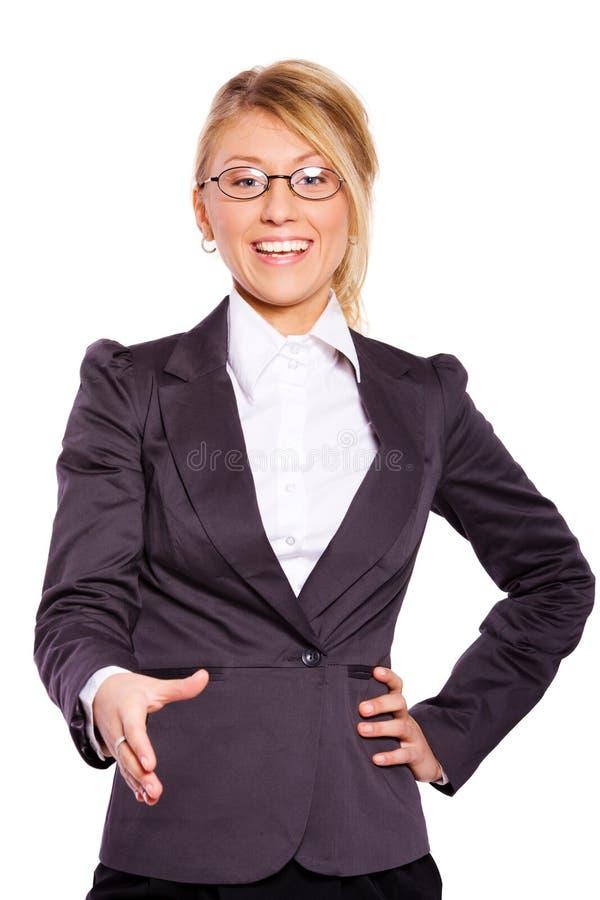 Businesswoman greeting stock photos