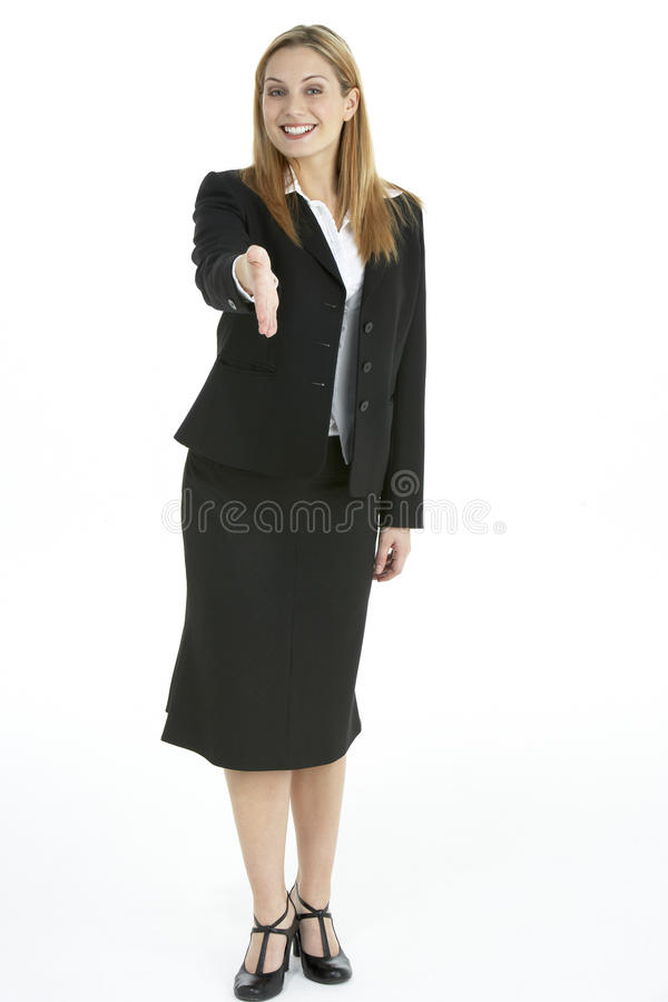 Businesswoman Greeting Client royalty free stock image
