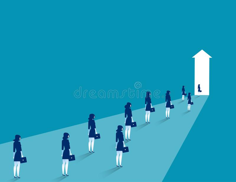 Businesswoman group walking. Business to success vector illustration. royalty free illustration