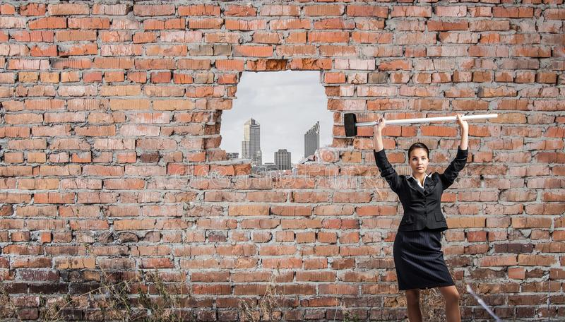 Making your way in business. Mixed media stock photos