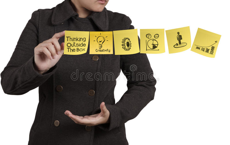 Businesswoman hand show blank sticky note with white background. As concept royalty free stock photography