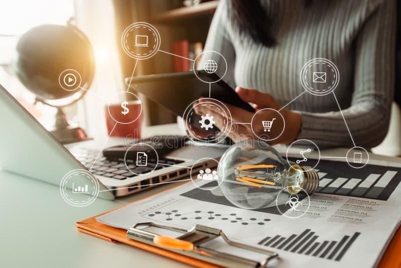 Digital marketing media in virtual screen. stock photo