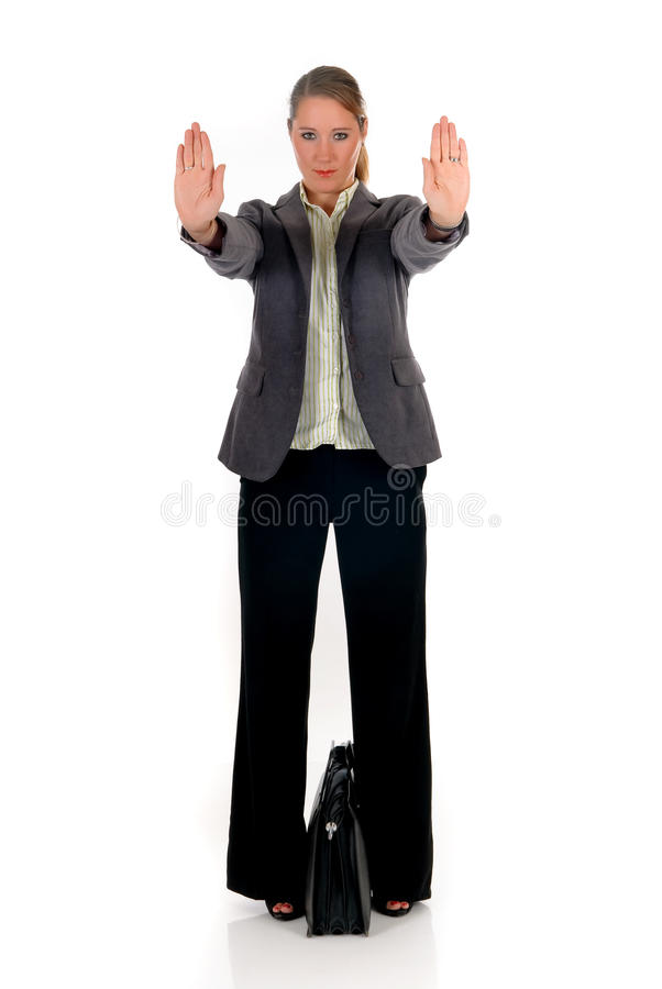 Businesswoman Hands Stop Royalty Free Stock Photography