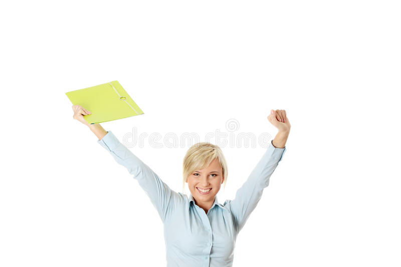Download Businesswoman With Hands Up Royalty Free Stock Photography - Image: 16612347