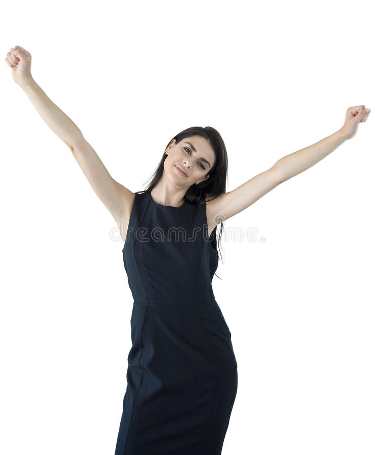 Businesswoman with hands up. royalty free stock images