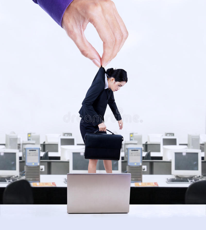 Businesswoman hanging on a hand