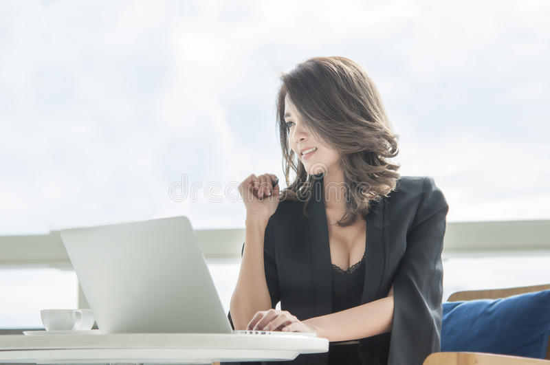 Businesswoman happiness to work,Asia,Thailand royalty free stock image