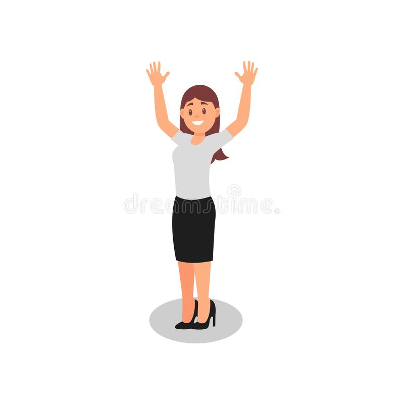 Businesswoman with happy face expression. Young girl standing with hands up. Joyful office worker in formal outfit. Flat royalty free illustration