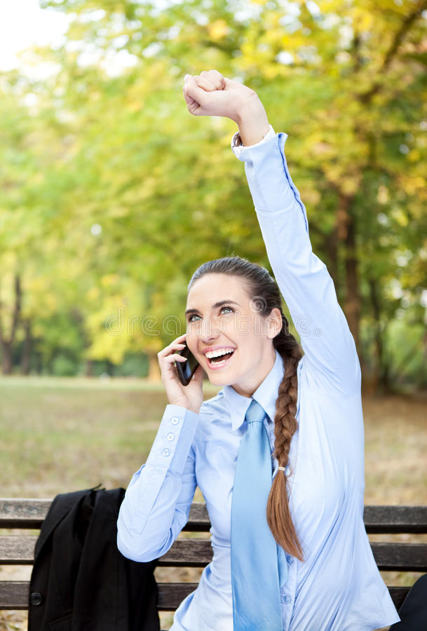 Businesswoman happy for good news royalty free stock image