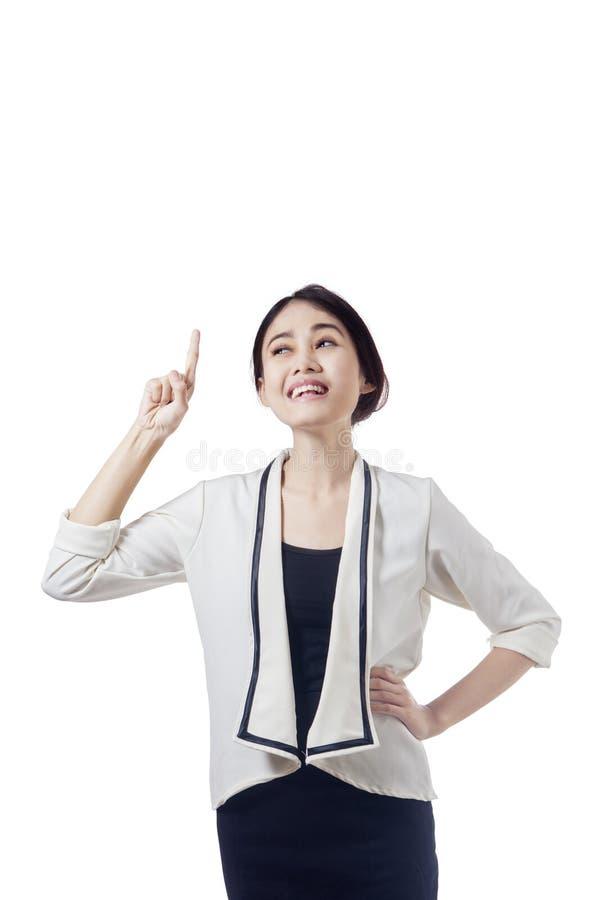 Businesswoman having a good idea stock photography