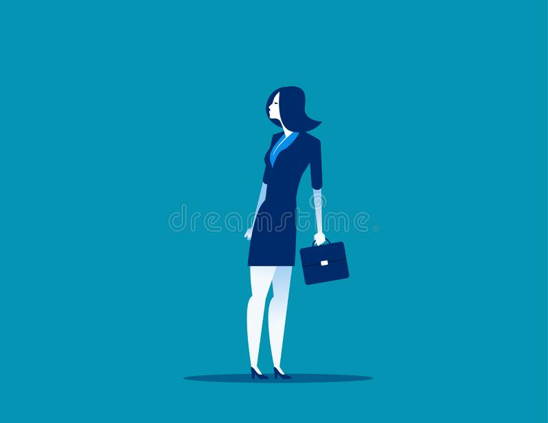Businesswoman heading in opposite direction to bottom half. Concept business vector illustration vector illustration