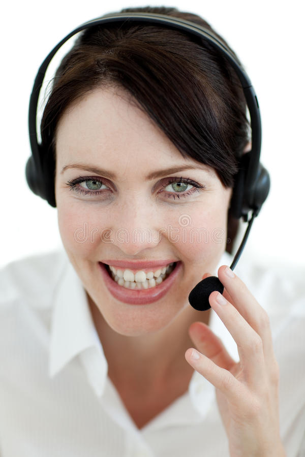 Businesswoman with headset on royalty free stock photos