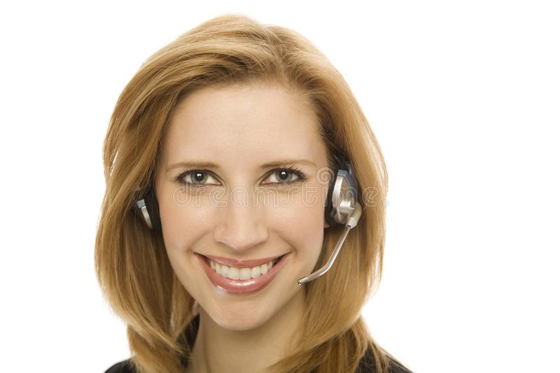 Businesswoman with a headset stock photography