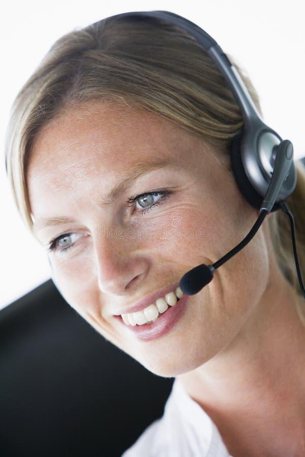 businesswoman headset office wearing στοκ εικόνες με δικαίωμα ελεύθερης χρήσης