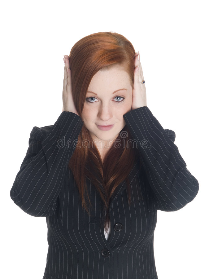 Businesswoman - hear no evil royalty free stock image