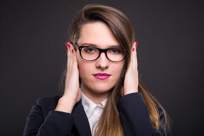Businesswoman in the hear no evil pose royalty free stock photos