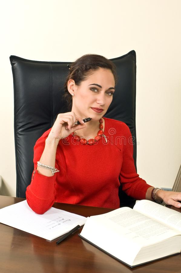 Businesswoman at her Desk royalty free stock photos