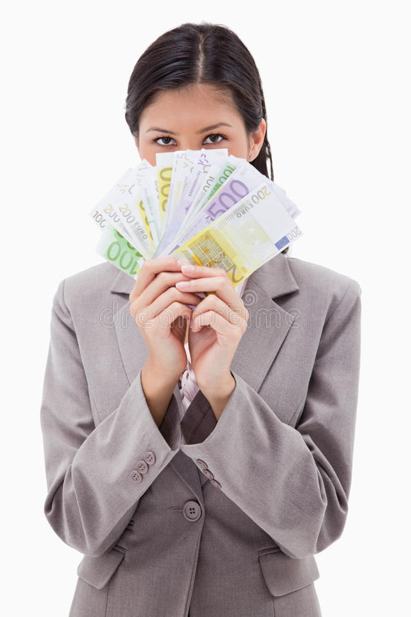 Download Businesswoman Hiding Face Behind Money Stock Photo - Image: 22664932