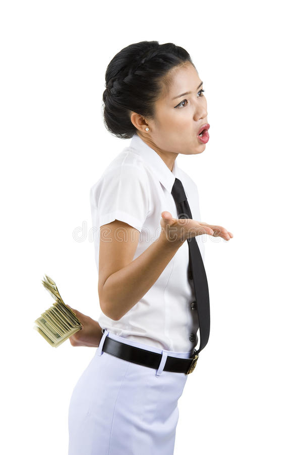 Download Businesswoman Hiding Money Behind Her Back Stock Image - Image: 16407087