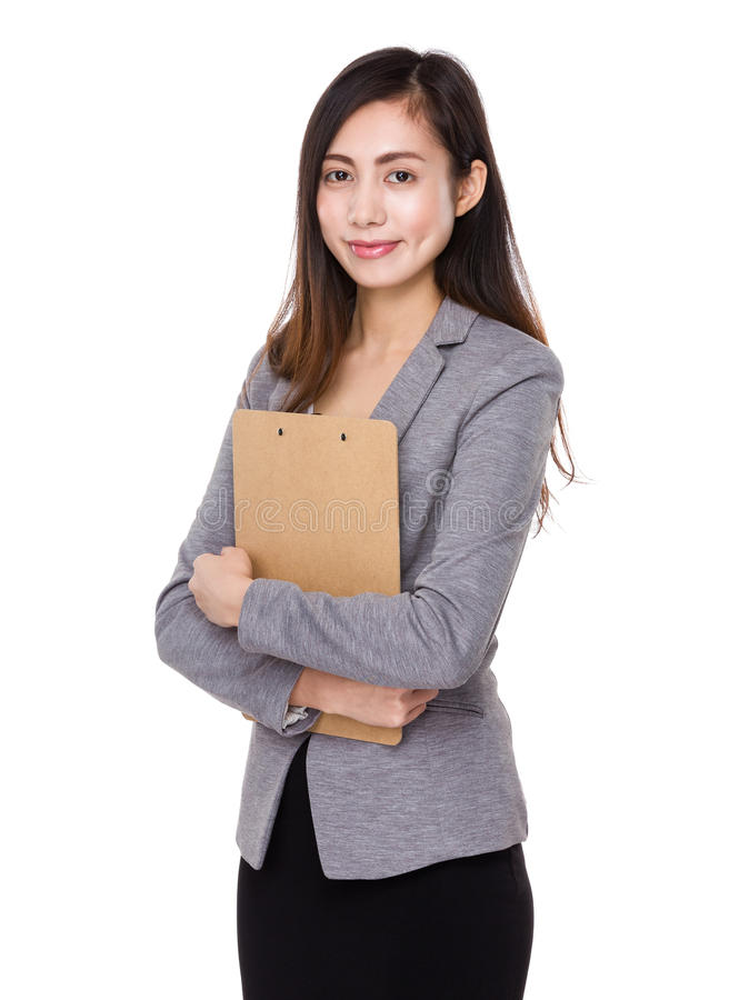 Businesswoman hold with clipboard royalty free stock image