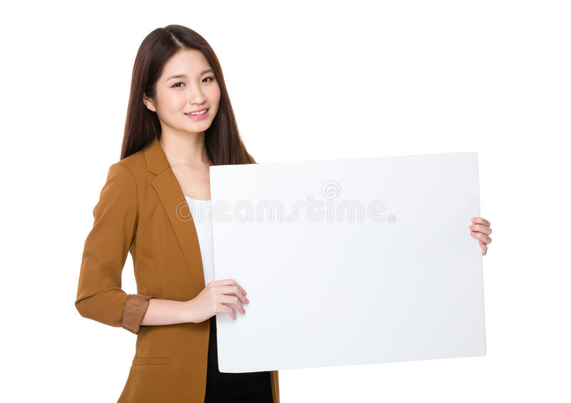 Businesswoman hold with palcard royalty free stock image