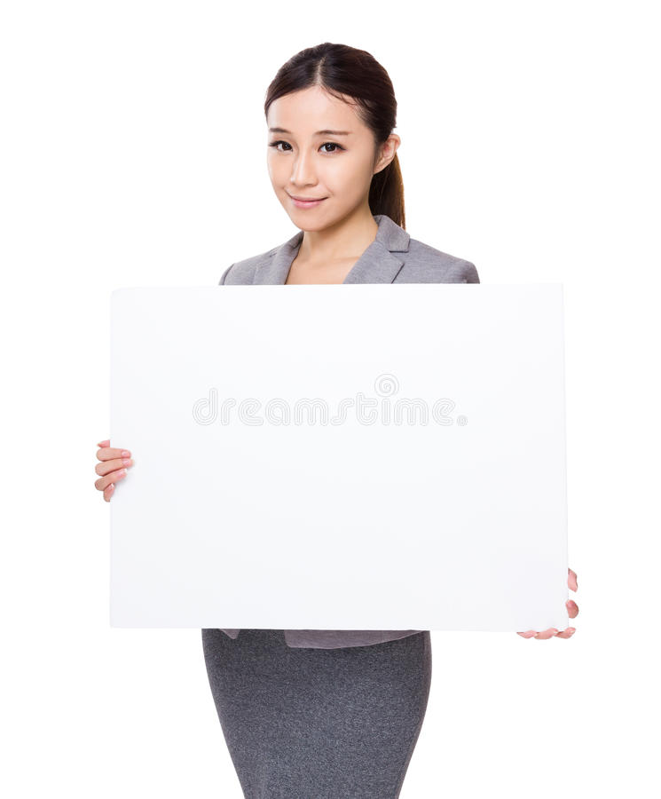Businesswoman hold with palcard royalty free stock images