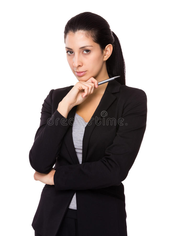 Businesswoman hold with pen stock photography