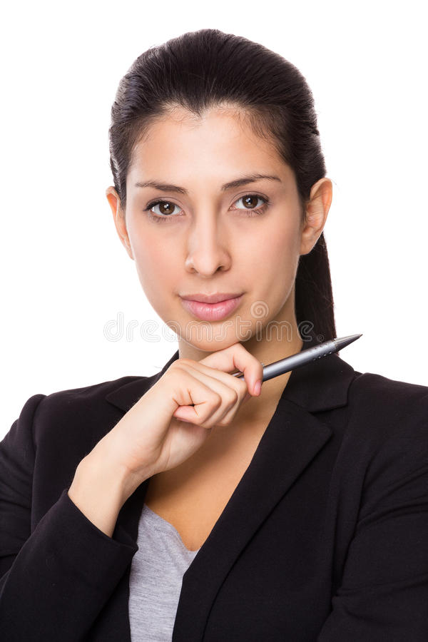 Businesswoman hold with pen royalty free stock photo