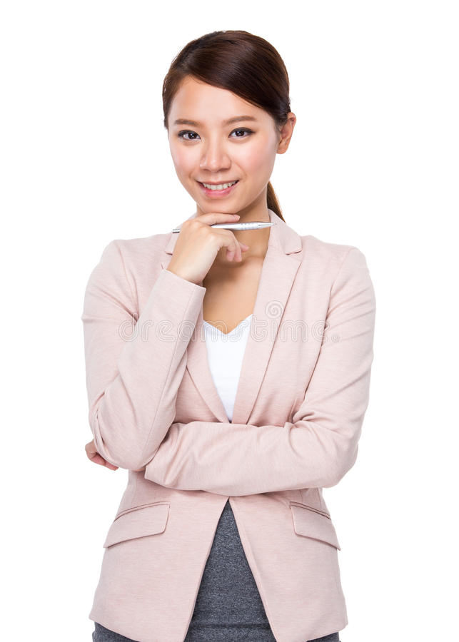 Businesswoman hold with a pen royalty free stock photography