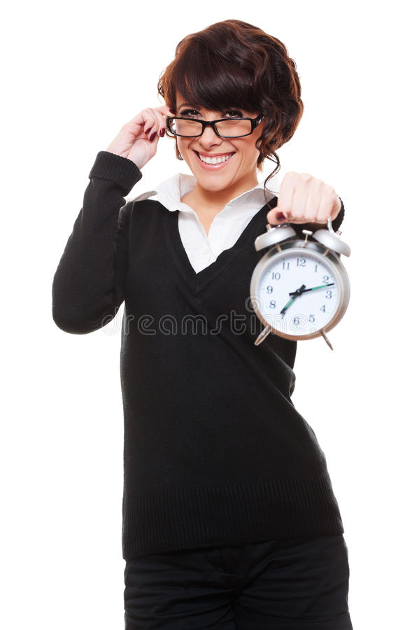Download Businesswoman Holding Alarm Clock Stock Image - Image of concept, hair: 23501909