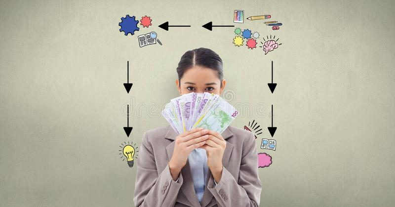 Businesswoman holding banknotes against signs on wall royalty free illustration
