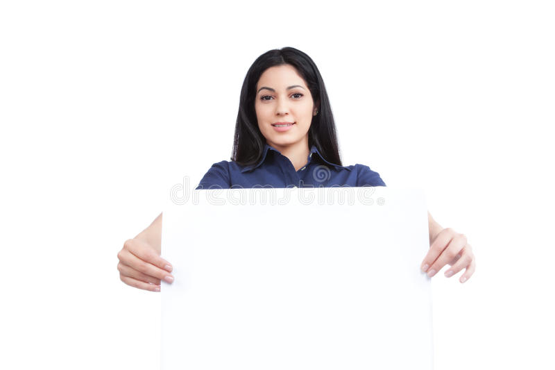 Download Businesswoman Holding Blank Placard Stock Photo - Image: 36707778