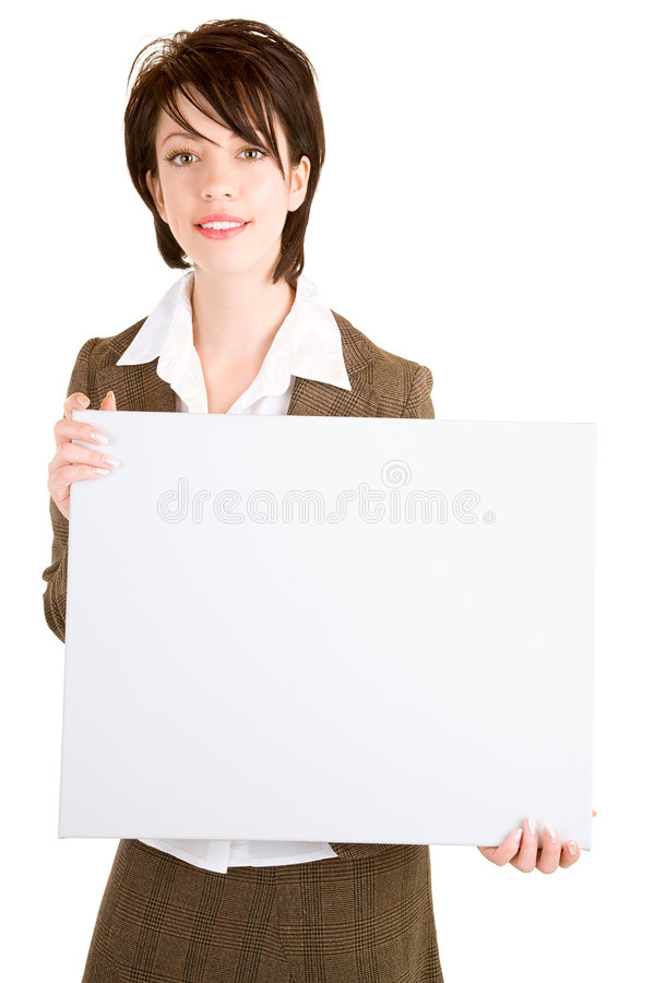 Download Businesswoman Holding A Blank White Sign Stock Image - Image: 8402717