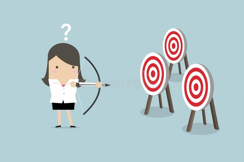 Businesswoman holding bow and arrow confused by multiple bulls eye target. vector illustration