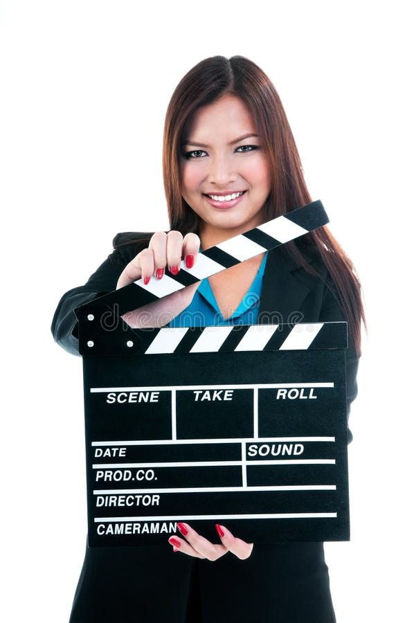 Businesswoman Holding Clapper Board stock photography