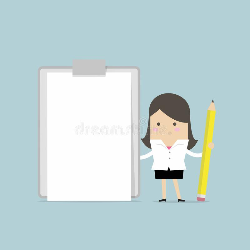 Businesswoman holding clipboard with blank white paper. vector illustration