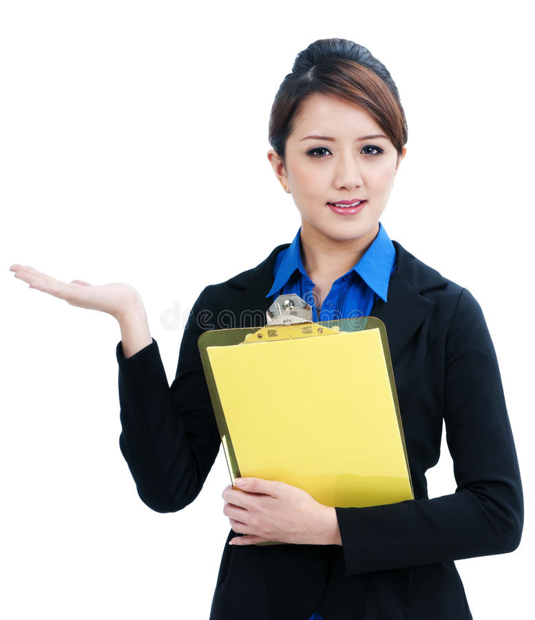 Businesswoman Holding Clipboard and Gesturing