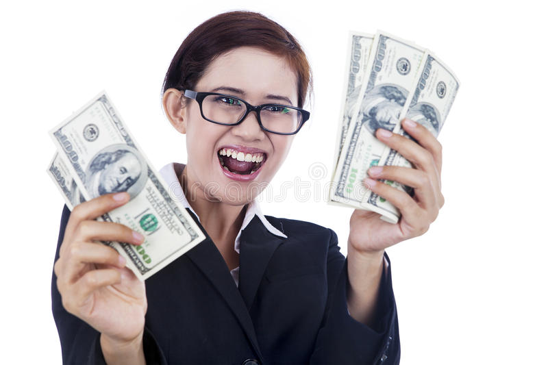 Download Businesswoman Holding Dollar Bills Stock Photo - Image: 27095260