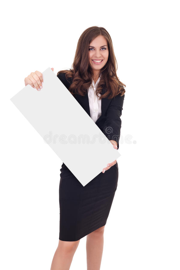Download Businesswoman Holding Empty Banner Stock Image - Image: 20913755
