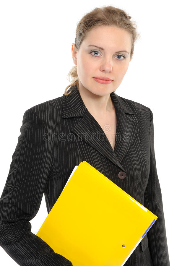 Businesswoman holding a folder stock image