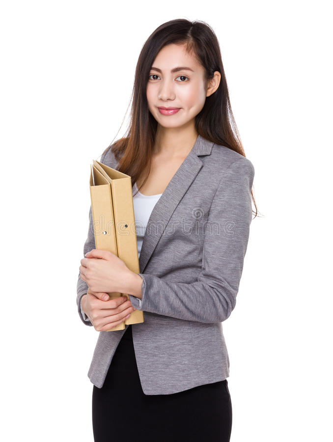 Businesswoman holding with folder stock image